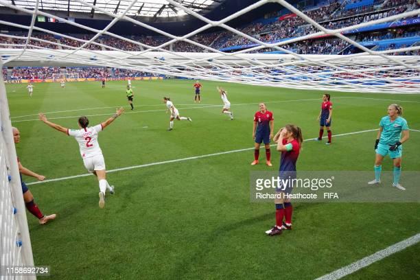 Norway players react as Jill Scott of England scores England's first goal during the 2019 FIFA Women's World Cup France Quarter Final match between...