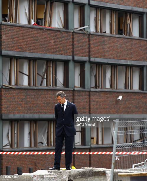 Norway Prime Minister Jens Stoltenberg visits the scene of the bomb explosion of the twin extremist attacks on July 26 2011 in Oslo Norway Norwegian...