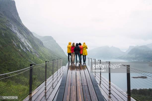 norway, senja island, rear view of friends standing on an observation deck at the coast - grand horizons stock pictures, royalty-free photos & images