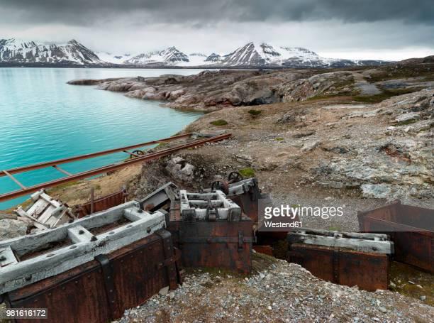 Norway, Spitsbergen, Longyearbyen, old remains of coal mine, transport cart