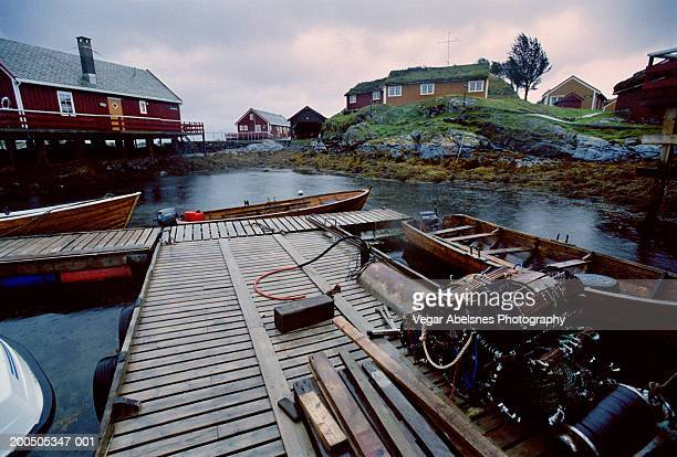 norway, stavanger, fishing village in rain - fishing village stock pictures, royalty-free photos & images