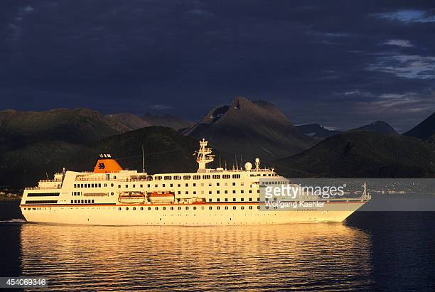 Norway Storfjord Cruise Ship Ms Columbus In Evening Light