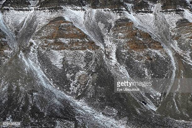 Norway. Svalbard. Longyearbyen valley side. Scree slopes. Strata and snow.