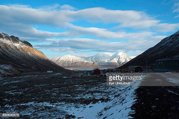 Norway, Svalbard. Longyearbyen.Looking down the valley from the Longyearbyen Glacier over the town of Longyearbyen and out over Adventfjorden towards...