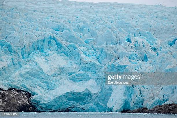 Norway Svalbard Nordenskiöld Glacier Blue ice Ice worn rock outcrop Glacier front ready to calve ice into the fjord