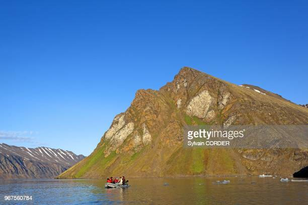 Norway Svalbard Spitsbergen Krossfjord bird colony in the small bay of Fridtjovneset