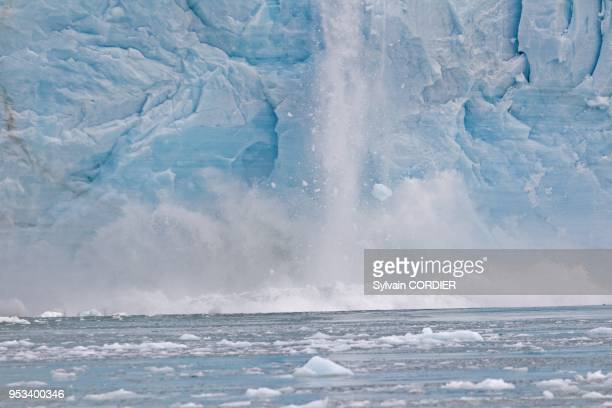 Norway Svalbard Spitsbergen Nordaustlandet Brasvell's glacier the ice melt rivers and fountains flowing water
