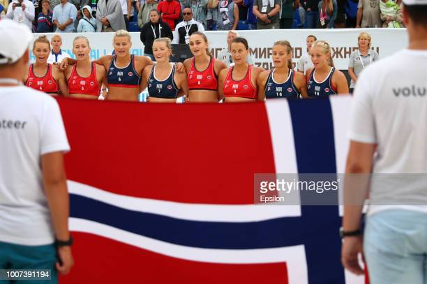 Norway team line up during 2018 Women's Beach Handball World Cup final against Greece on July 29, 2018 in Kazan, Russia.