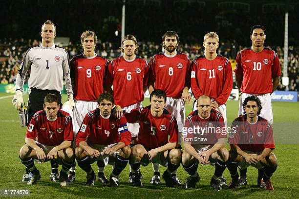 Norway team line up prior to the International friendly match between Australia and Norway held at Craven Cottage London on November 16 2004