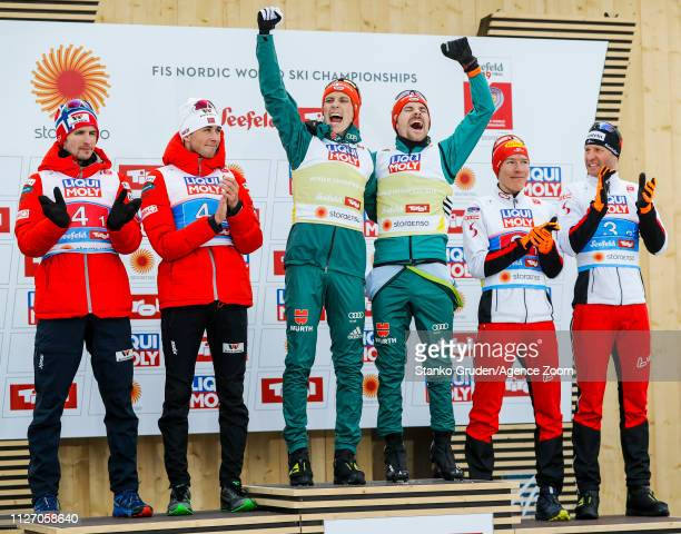 Norway Team takes 2nd place, Germany Team takes 1st place, Austria Team takes 3rd place during the FIS Nordic World Ski Championships Men's Nordic...