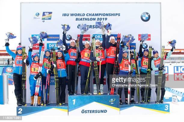 Norway Team wins the gold medal Sweden Team of Sweden wins the silver medal Ukraine Team wins the bronze medal during the IBU Biathlon World...