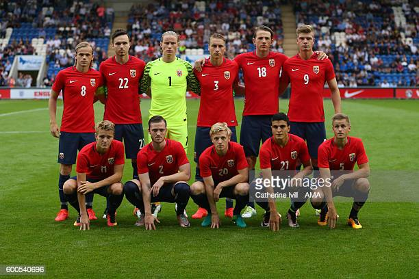 Norway U21 teamgroup photo before the UEFA European U21 Championship Qualifier Group 9 match between England U21 and Norway U21 at Colchester...