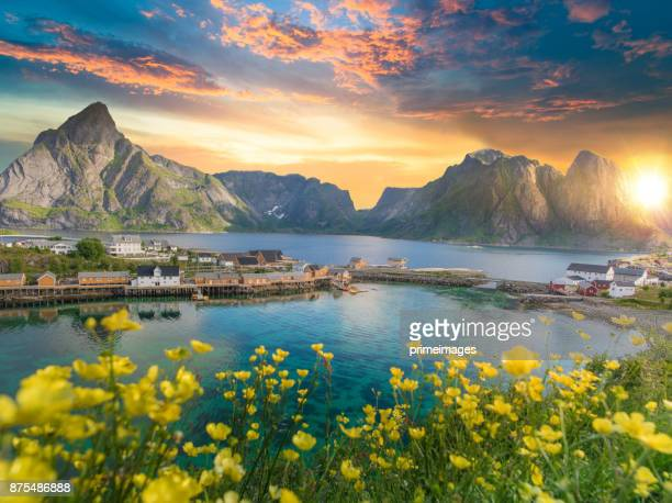 norway , view of lofoten islands in norway with sunset scenic - lofoten stock pictures, royalty-free photos & images