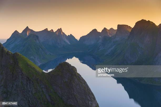 norway , view of lofoten islands in norway with sunset scenic - traditionally norwegian stock pictures, royalty-free photos & images