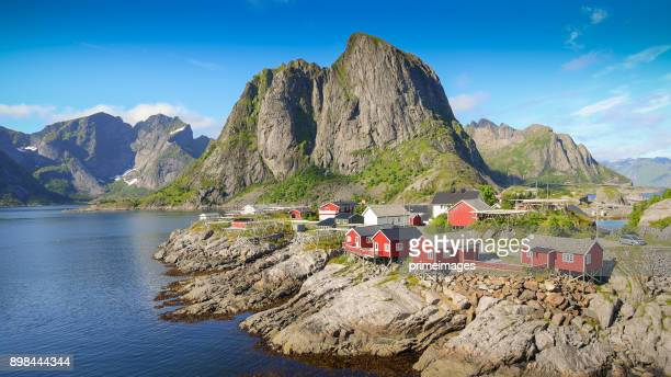 Norway , view of Lofoten Islands in Norway with sunset scenic
