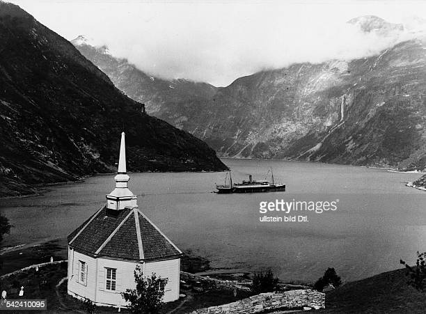 Norway view to the Storfjord with church near Merok 1907 takeken by Atelier Schaul