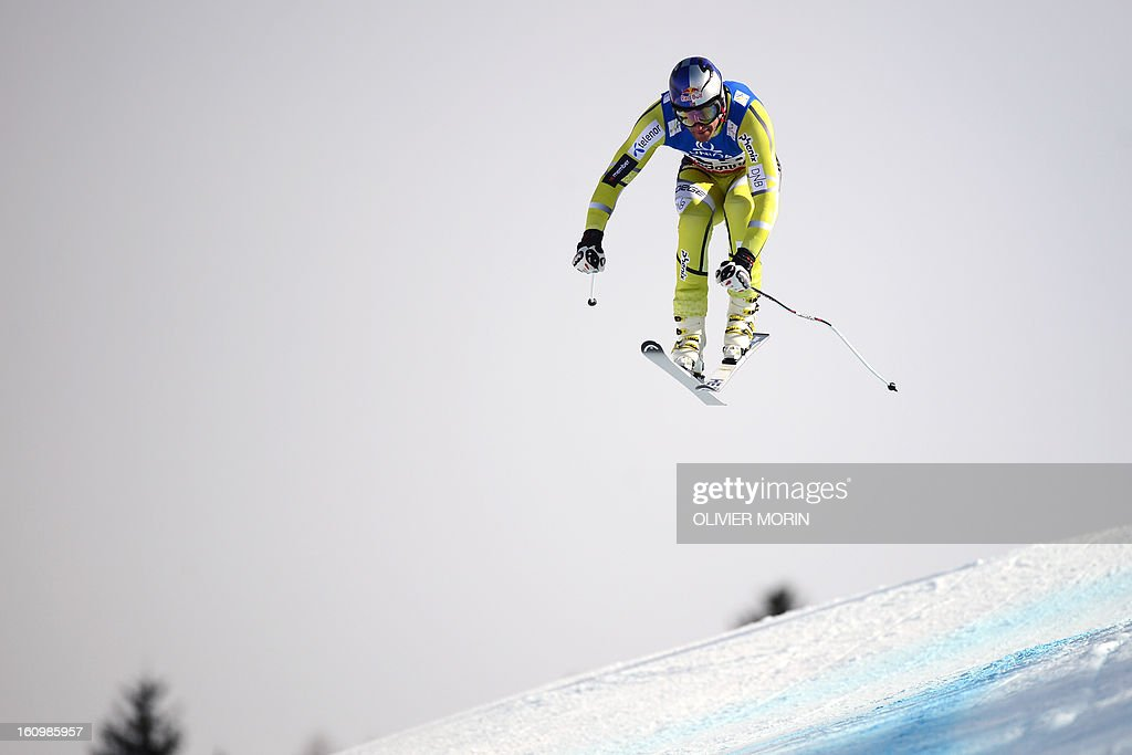 Norway's Aksel Lund Svindal competes during the men's downhill training event of the 2013 FIS Alpine Ski World Championships in Schladming, Austria on February 8, 2013.