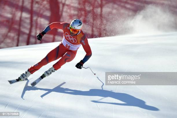 Norway's Aksel Lund Svindal competes in the Men's Alpine Combined Downhill at the Jeongseon Alpine Center during the Pyeongchang 2018 Winter Olympic...