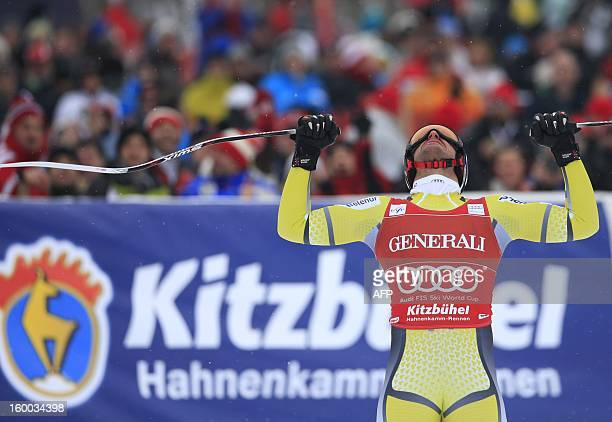 Norway's Aksel Lund Svindal reacts after the men's World Cup SuperG on January 25 2013 in Kitzbuehel Norway's Aksel Lund Svindal won the event ahead...