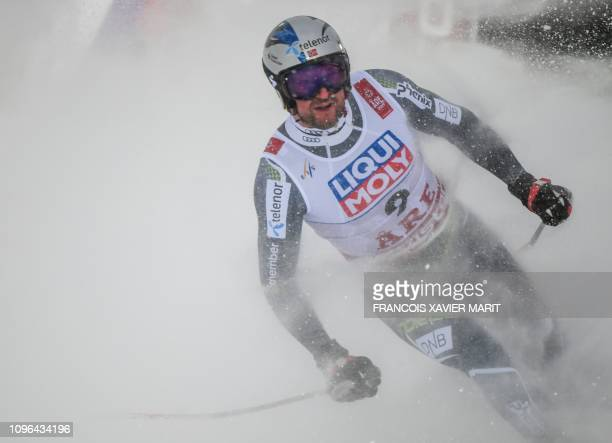 Norway's Aksel Lund Svindal reacts in the finish area during the Men's Downhill event of the 2019 FIS Alpine Ski World Championships at the National...