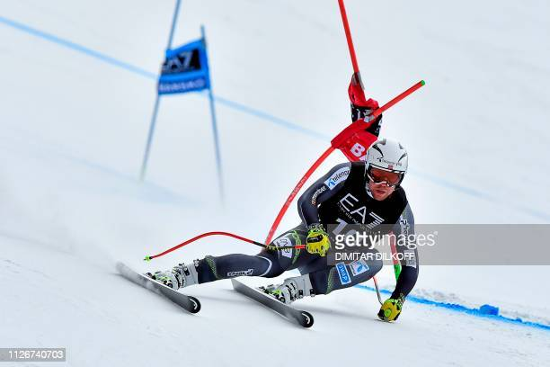 Norway's Aleksander Aamodt Kilde competes during the men's SuperG combined event of the FIS Alpine Ski World Cup in Bansko on February 22 2019