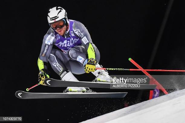 Norway's Aleksander Aamodt Kilde competes in the 1/16th final of the FIS Alpine World Cup Men's Parallel Giant Slalom nightrace on December 17, 2018...