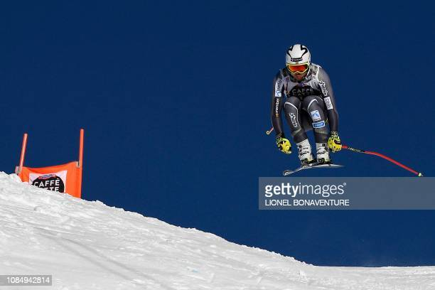 Norway's Aleksander Aamodt Kilde competes in the Men's Downhill of the Lauberhorn during the FIS Alpine Ski World Cup, on January 19 in Wengen.