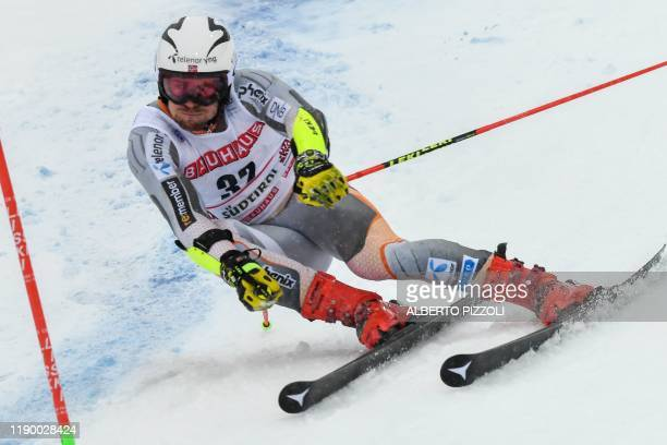 Norway's Aleksander Aamodt Kilde competes in the Men's Giant Slalom of the FIS Alpine World Cup on December 22, 2019 in Alta Badia, Dolomites.