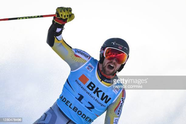 Norway's Aleksander Aamodt Kilde reacts as he crosses the finish line in the round 2 of the Men's Giant Slalom race during the FIS Alpine ski World...