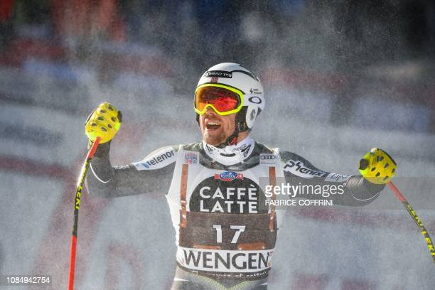 Norway's Aleksander Aamodt Kilde reacts in the finish area after competing in the Men's Downhill of the Lauberhorn during the FIS Alpine Ski World...