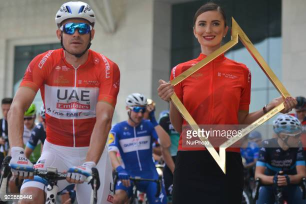 Norway's Alexander Kristoff from UAE Team Emirates in Red Leader Jersey ahead of the start to the second stage 154km Yas Island Stage from Yas Mall...