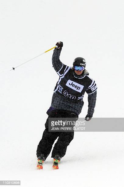 Norway's Andreas Hatveit celebrates after winning the silver medal of the Men's Skiing Slopestyle final during the European stage of the Winter...