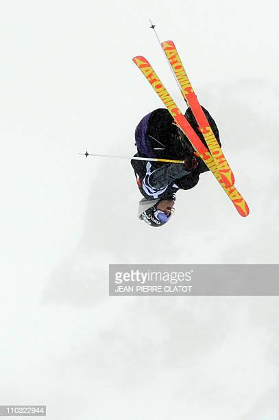 Norway's Andreas Hatveit competes in the Men's Skiing Slopestyle final during the European stage of the Winter XGames on March 17 in the sky resort...
