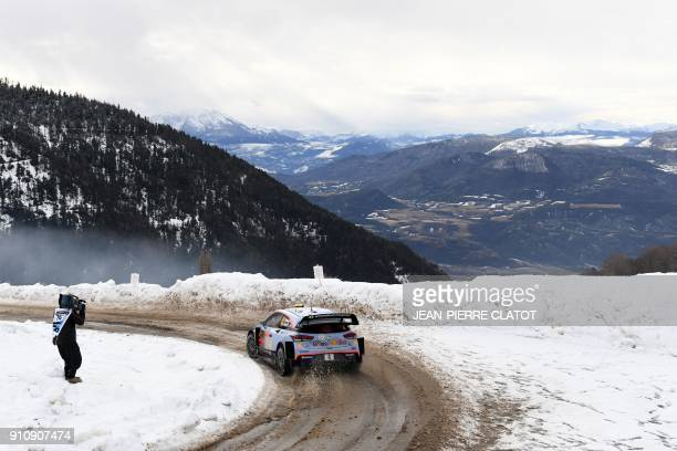 Norway's Andreas Mikkelsen steers his Hyundai I20 WRC during the ES 10 of the third stage of the 86th Monte Carlo Rally between St Leger Les Melezes...
