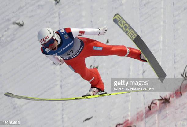 Norway's Andreas Stjernen competes in the Ski Flying event of the FIS Ski Jumping World Cup in Vikersund Norway on January 27 2013 AFP PHOTO / DANIEL...