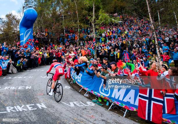 Norway's Andreas Vangstad competes during the men elite individual time trial at the UCI Cycling Road World Championships on September 20 2017 in...