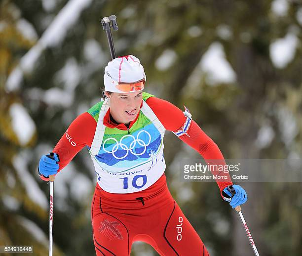 Norway's Ann Kristin Aafedt Flatland during the women's biathlon 10 km pursuit at Whistler Olympic Park on day 5 of the Vancouver 2010 Olympic Winter...