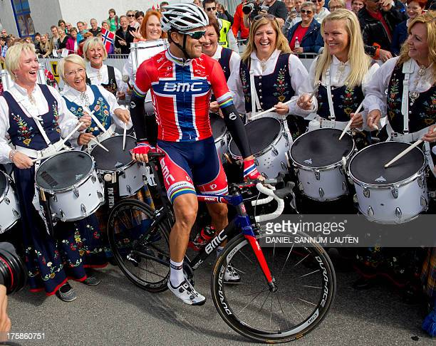 Norway's BMC Racing Team rider Thor Hushovd is seen prior to the second stage of the Arctic Race of Norway on August 9 2013 in Svolvaer Norway AFP...