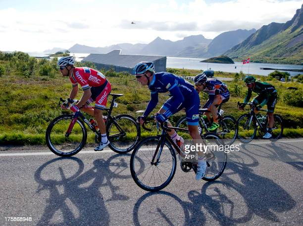 Norway's BMC Racing Team rider Thor Hushovd leads during the second stage of the Arctic Race of Norway on August 9 2013 in Svolvaer Norway AFP PHOTO...