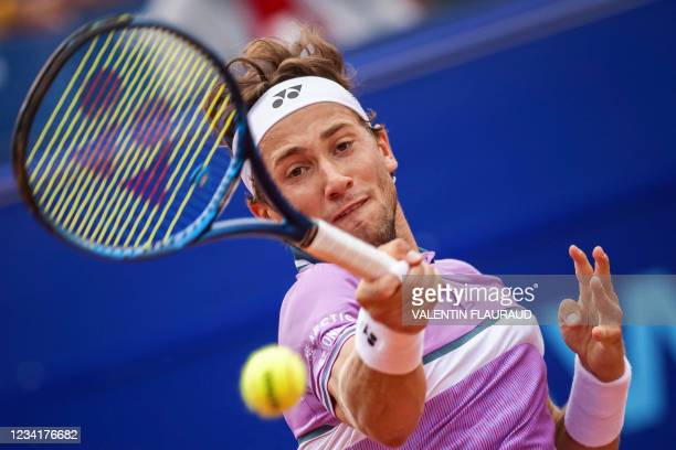 Norway's Casper Ruud returns a ball to France's Hugo Gaston during the men's single final match at the Swiss Open ATP 250 tennis tournament in Gstaad...