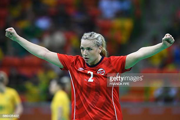 Norway's centre back Mari Molid celebrates a goal during the women's preliminaries Group A handball match Norway vs Brazil for the Rio 2016 Olympics...