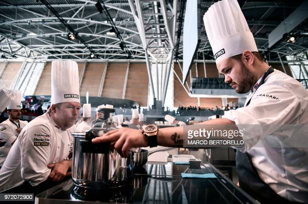 Norway's Christian Andre Pettersen and his coach Gunnar Hvarnes compete during the event of the Bocuse d'Or Europe 2018 International culinary...