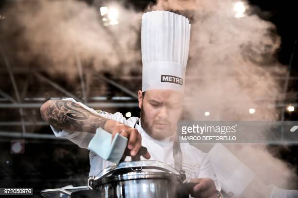 Norway's Christian Andre Pettersen competes during the event of the Bocuse d'Or Europe 2018 International culinary competition on June 12 2018 in...