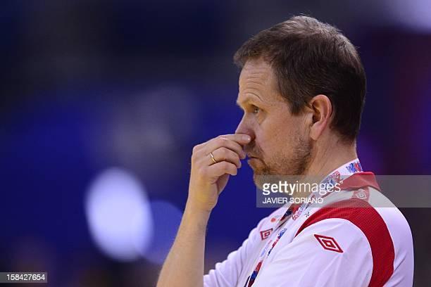 Norway's coach Thorir Hergeirsson gestures during the 2012 EHF European Women's Handball Championship final match Norway vs Montenegro on December 16...