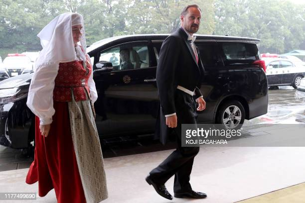 Norway's Crown Prince Haakon arrives at the Imperial Palace to attend the proclamation ceremony of Japan's Emperor Naruhito's ascension to the throne...