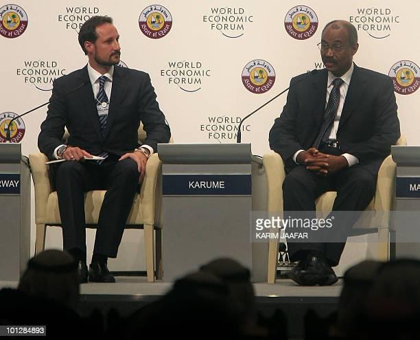 Norway's Crown Prince Haakon listens to Amani Abeid Karume president of Tanzania's semiautonomous island of Zanzibar at the opening session of the...