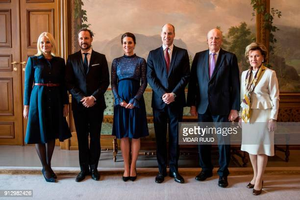 Norway's Crown Princess Mette Marit and Crown Prince Haakon Britain's Catherine Duchess of Cambridge and Prince William Duke of Cambridge Norway's...