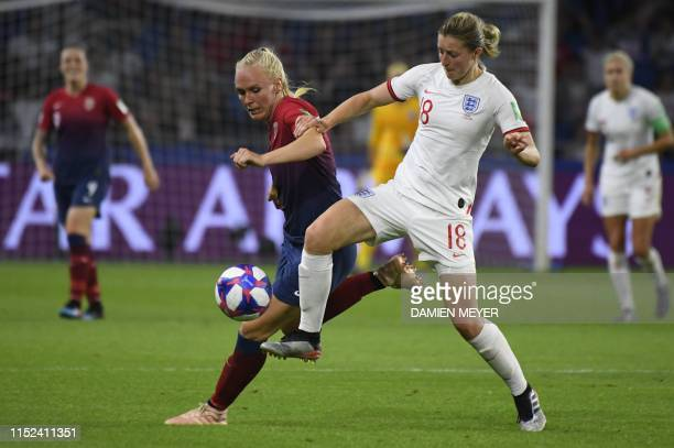 Norway's defender Maria Thorisdottir vies with England's forward Ellen White during the France 2019 Women's World Cup quarterfinal football match...