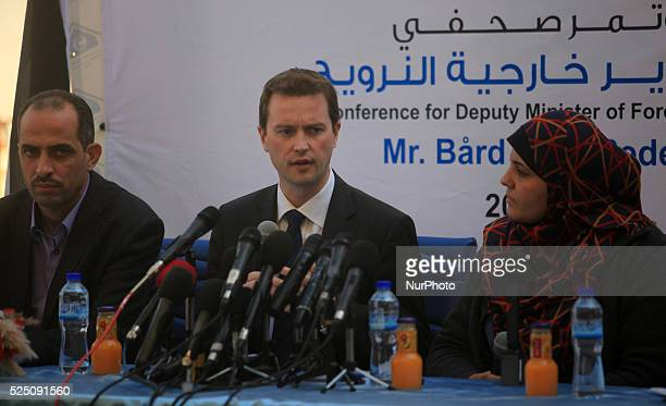 Norway's deputy foreign minister Mr B��rd Glad Pedersen during a press conference in front of the media in Gaza City