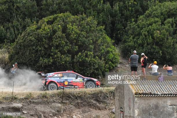 Norway's driver Andreas Mikkelsen steers his Hyundai Shell Mobis WRT with his compatriot co-driver Anders Jaeger during the SS4 Super Special stage...